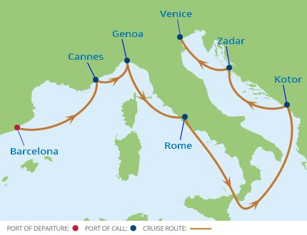 Italian Renaissance Cruise map