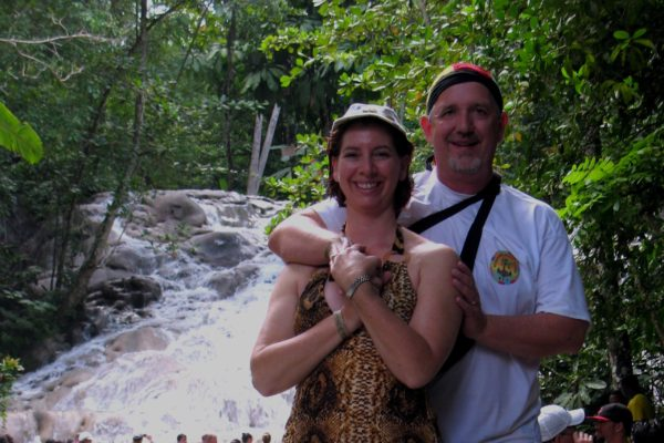 Scott and Michelle from EZTravelpad pose at Dunn's River Falls in Ocho Rios Jamaica